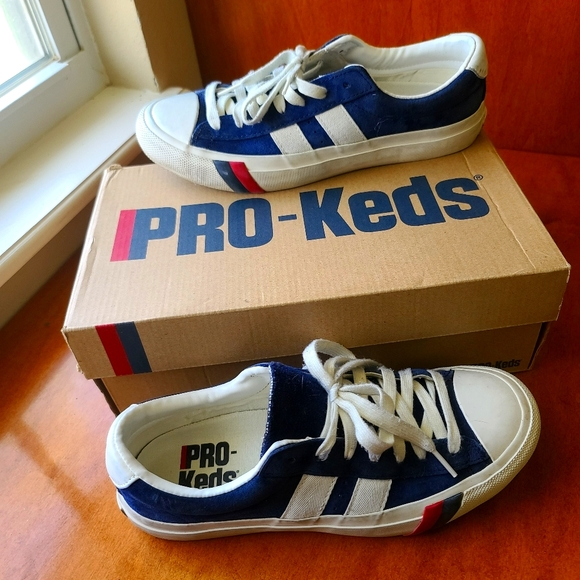 PRO-Keds Royal Plus Suede Navy Striped Sneakers